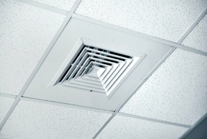 diffuser installed into ceiling panels
