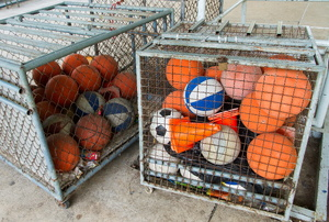 Basketballs in a crate.