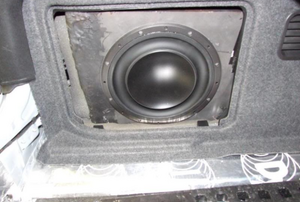 a subwoofer inside a car