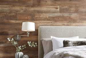 A treated lumber headboard.
