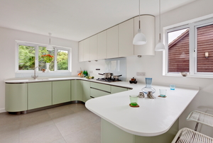 A kitchen with plastic laminate countertops.