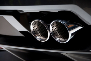 Chrome car exhaust pipes.