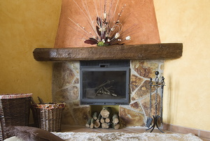 Corner fireplace with a mantel