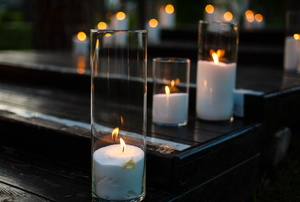 Curved glass candles.