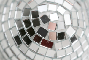 A mosaic of mirrored tiles.