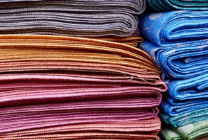 colorful folded silks