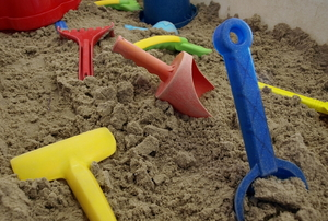 Toys in the sand.