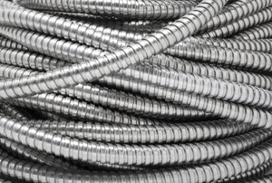 Coils of flexible metal conduits.
