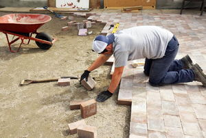 brick pavers being laid