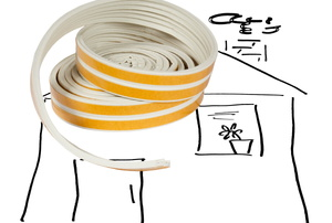 A line drawing of a house with a coil of yellow and white weather stripping.