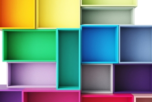a group of brightly colored open cupboards