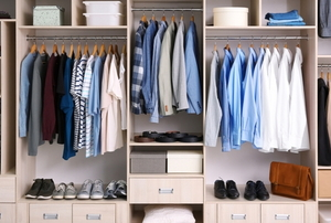 organized closet with multiple compartments