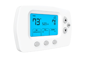 Electronic thermostat displaying temperature and time with a blue lit background.