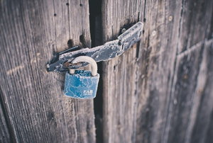 A shed with a lock.