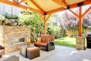 patio deck with wooden covered roof