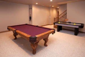 Brand New Game Room With Pool and Air Hockey Tables and Berber carpeting
