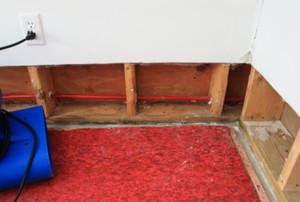 red carpet pad exposed