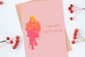"""cute card between berries on branches with picture of Bernie Sanders sitting and the words """"I have been smitten by you"""""""