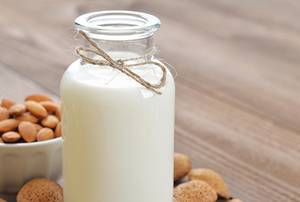 A jar of almond milk