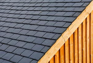 Roof slates seen from an angle.
