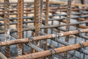 vertical and horizontal rebar lashed together into a support frame