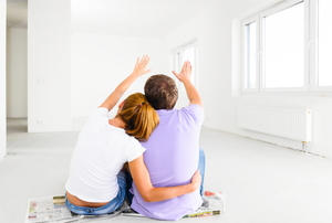 A couple imaging how they're going to design the inside of their new home.