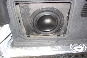 A subwoofer in a box.