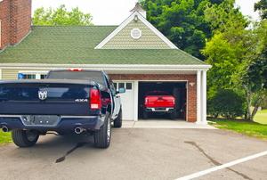 A garage with windows.