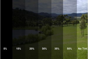 various percentages of tint