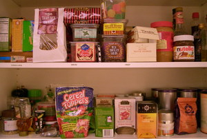 pantry shelves full of items