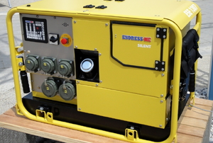 A yellow portable power generator.