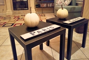 shabby chic end tables with decor