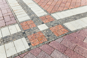 colorful pattern of brick pavers