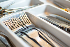 utensils in a silverware tray