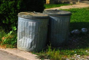 Two old metal trash cans next to a curb.
