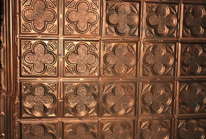 Faux tin ceiling.