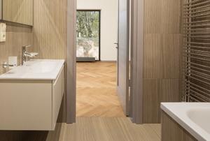 sleek clean bathroom with floating vanity