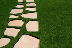 Stepping stones across a lawn.