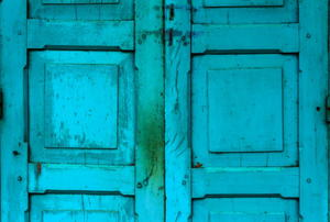 A pair of old, blue doors.