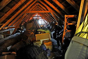 A junk-filled attic.
