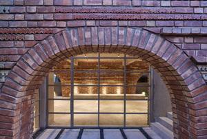 Purple brick-framed window