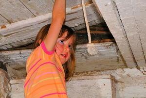 A little girl lifting up an old attic door.