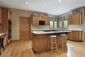 An outdated oak kitchen.