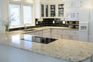 Granite countertop in neutral colored kitchen