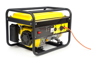 A yellow, portable power generator sitting against a white background.