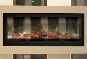 An electric fireplace insert.