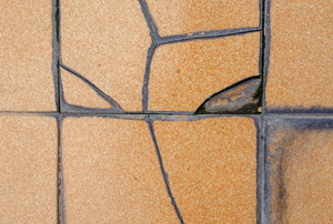 damaged ceramic tile