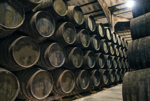 Wine barrels.