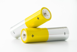 Batteries on a white background.