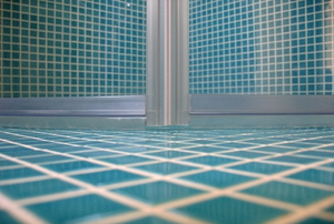Shower doors from floor view.